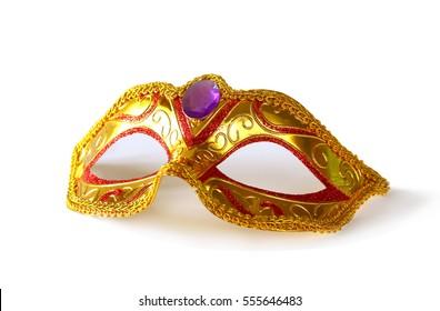 White glamor carnival mask isolated on white.
