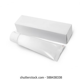 White glossy plastic tube and carton mock up template. Side view. Photography based. Use for creams, tooth paste, skin care and gel.