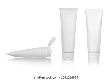 White glossy plastic tube for medicine or cosmetics - cream, gel, skin care, toothpaste. Realistic packaging with flip top cover isolated on white background. This is photo with clipping path.