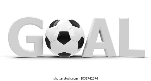 White Goal with white-to-black football isolated on white background, represents Football championship, three-dimensional rendering, 3D illustration