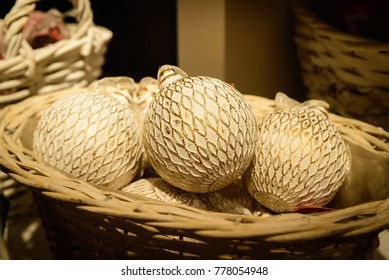 White and gold balls for Christmas