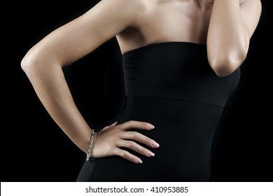 White gold bracelet on female model