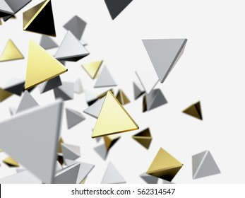 White and gold chaotic particles abstract background. 3d rendering