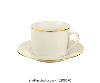 white with gold coffee cup and saucer
