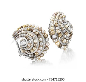 white gold earring with pearls