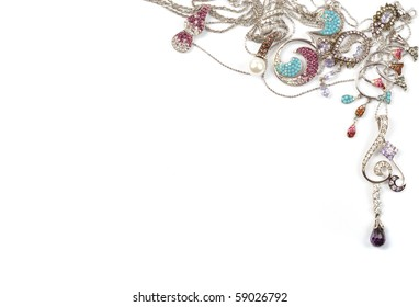White gold jewelry frame on white background