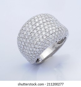 White gold ring with white diamonds,Wedding Ring with diamond. Jewelry background