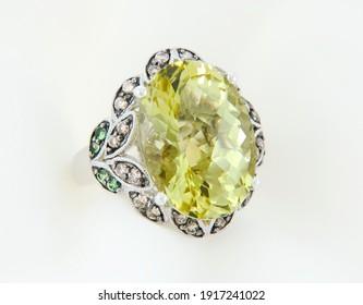 White Gold Ring With Lemon Quartz And Diamonds
