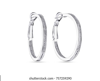 White gold round hoops earrings with diamonds, on white background
