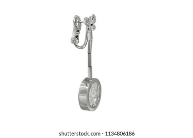 White gold or silver earring pendant with batterfly isolated on white