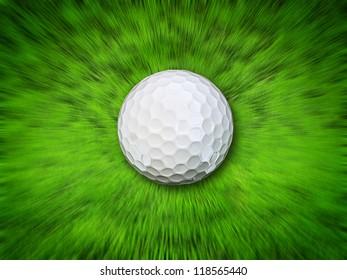 white golf ball fly on field. 3d illustration