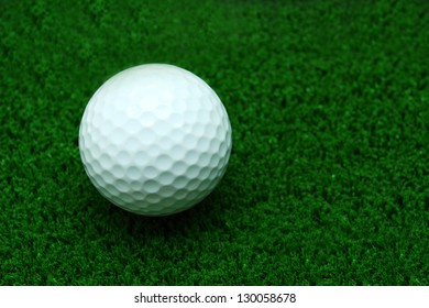 White Golf ball on Green Grass for web page background
