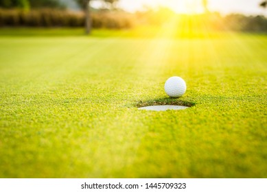 A white golf ball on green grass near hole with golf course background,green tree sun rays.
