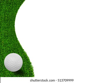 white Golf ball on green grass left side background
