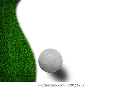 White golf ball on green grass isolated on white with shadow horizontal background for web page