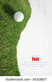 white Golf ball on Green Grass left side background. Golf sport is Balance of Yin Yang. Paste the text into the space  right hand side.golf sport concept