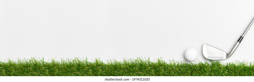 White golf ball and stick on green grass isolated on white. Horizontal sport poster, greeting cards, headers, website