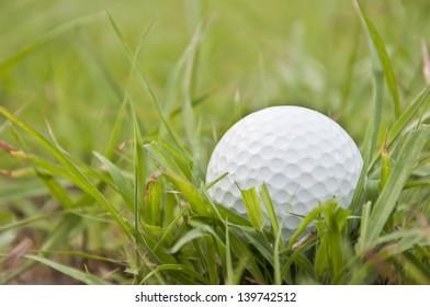 white golfball on the green grass field