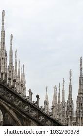 White Gothic Spires of the Milan Cathedral (Duomo di Milano), Milan, Italy.