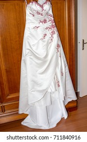 a White gown for a bride hanging