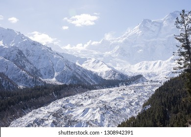 """white gracier on""""Fairy meadow""""with """"Nanga Parbat"""" the 9th highest peak in the world or is called""""Killer Mountain""""the one of landmarks in northern Pakistan.beautiful scenery of high mountains landscape"""
