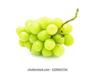 white grape fresh fruit with stem isolated on white background