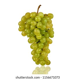 White grapes vertical with reflection  isolated on white background