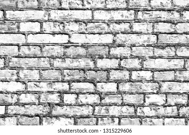 White gray brick wall. Urban grunge backdrop texture for graphic design.