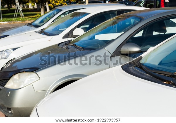 white-gray-cars-stand-row-600w-192299395