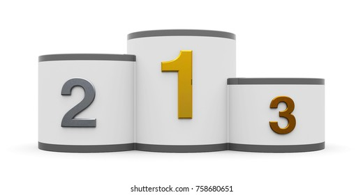 White and gray cylinder podium with three rank places, three-dimensional rendering, 3D illustration