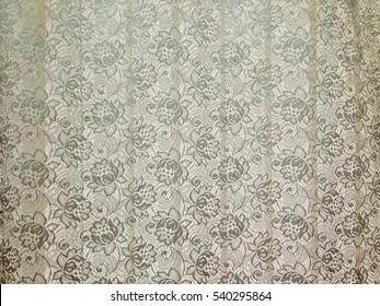 White and gray tone fine lace of curtain texture with elegance seamless beautiful vintage floral abstract pattern on white blind background, for background and wallpaper