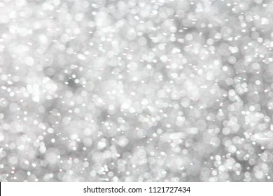 White Green Colorful blurred bokeh lights background. Abstract sparkles particle moving small large defocus different crystal plan overlay blend screen modes, copy space for text logo