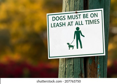 """White and green """"dogs must be on leash at all times"""" sign mounted on a wooden pole with a colorful woodsy background."""
