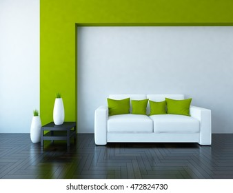 white and green empty interior with a white sofa and vases. 3d illustration