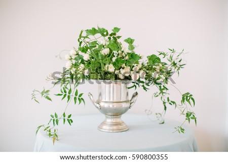 White green flower arrangement silver vase stock photo edit now white and green flower arrangement in a silver vase mightylinksfo