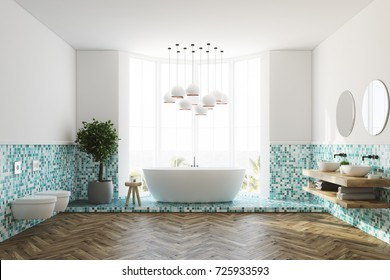 White and green tiles bathroom interior with a large window, a white round tub, two toilets and a white lamp. 3d rendering