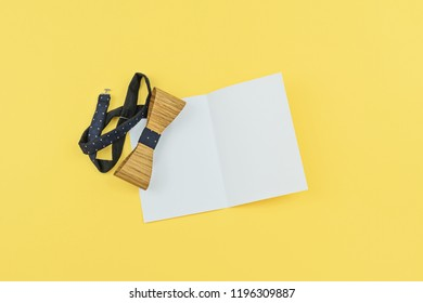 Happy bosss day images stock photos vectors shutterstock happy bosss day design vector eps 10 white greeting card with copy space and wooden tied bow on yellow background flat lay m4hsunfo