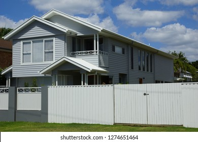 White and grey australian timber house