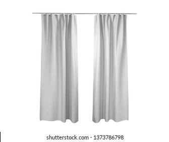 White grey Curtains Isolated On White background