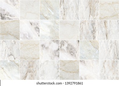 White and grey marble mosaic wall tile texture background. Big square marble tile with natural pattern.