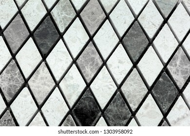 white and grey marble from rhombuses as a background