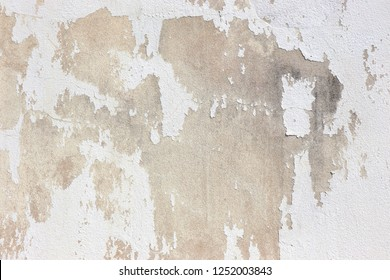 White  grey old  wall with shabby damaged plaster Cement and brick background of an vintage dirty exfoliating plaster  Textured background peeling of colour wallpaper cement