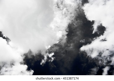 White - Grey smoke isolated on black background.