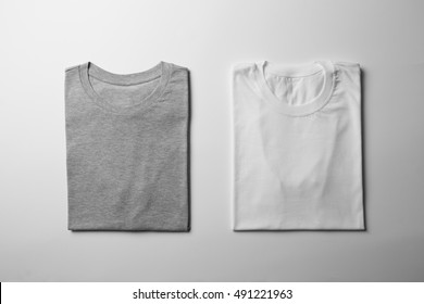 White and Grey T-Shirts Mock-up, ready to replace your design