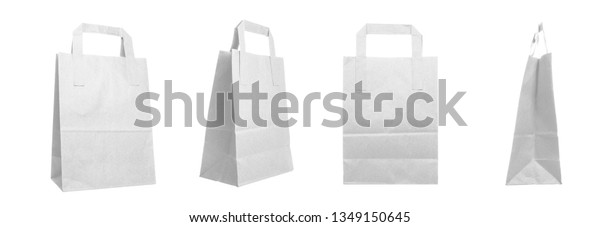 White grocery paper bags isolated on a white background, rotational, all sides view
