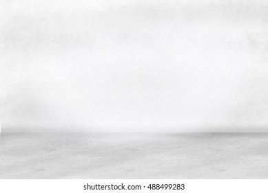 White Grunge texture wall and cement floor for background