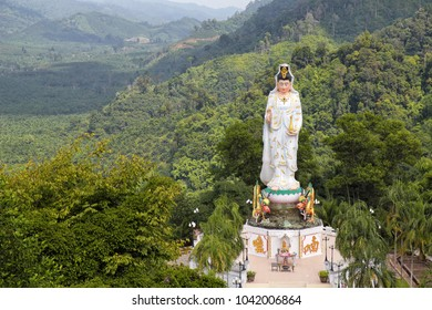 White Guanyin statue in the Bang Riang temple in Phang Nga province in Thailand