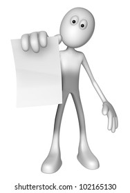 white guy is holding blank paper sheet - 3d illustration