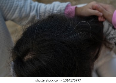 White hair Asian women