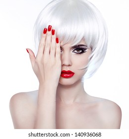 White Hair and Red Nails. Fashion Beauty Girl. Red lips. Manicure and Make-up. Vogue Style Woman. Hairstyle.